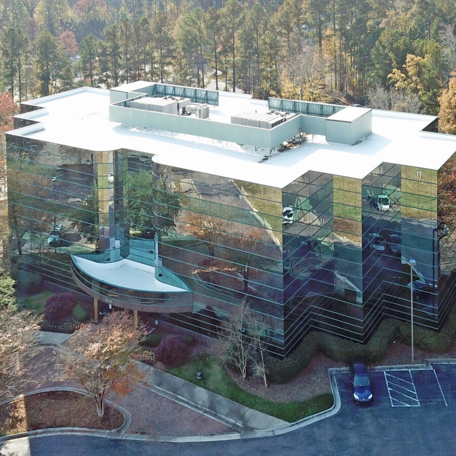 aerial of glass building